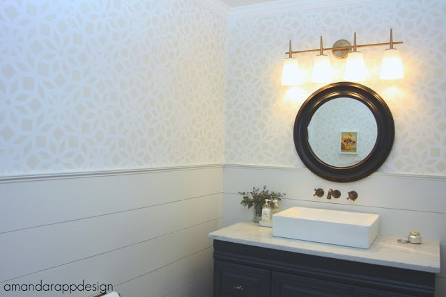 a stenciled bathroom makeover using the kerala allover pattern, bathroom ideas, home decor, home improvement, painting, wall decor