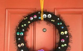 spooky eyeball halloween wreath, crafts, halloween decorations, seasonal holiday decor, wreaths