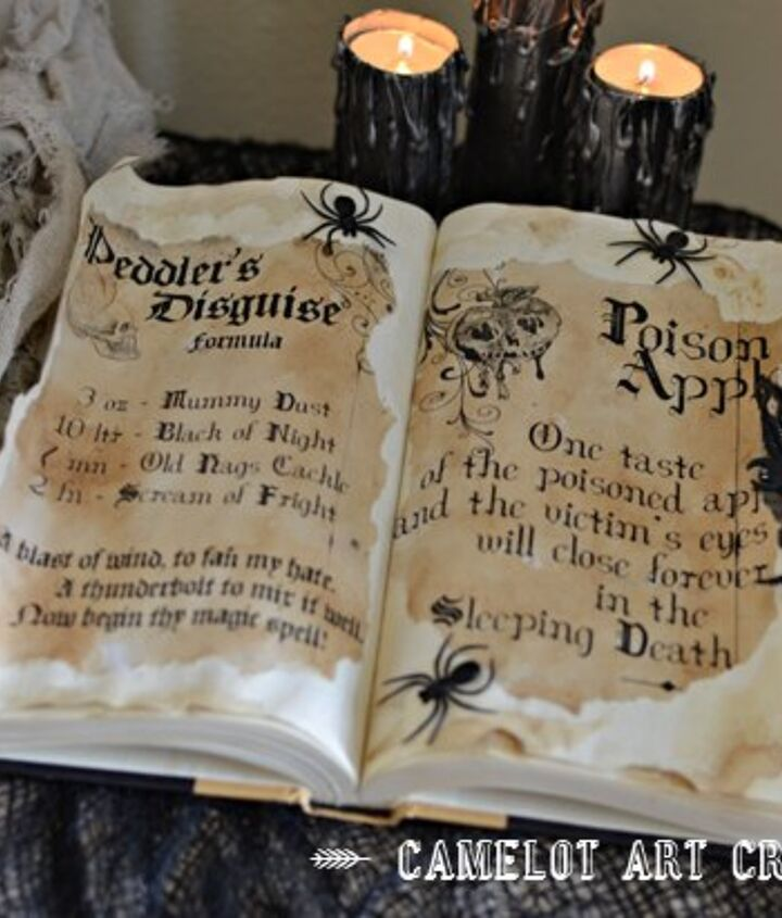 diy spell book, crafts, halloween decorations
