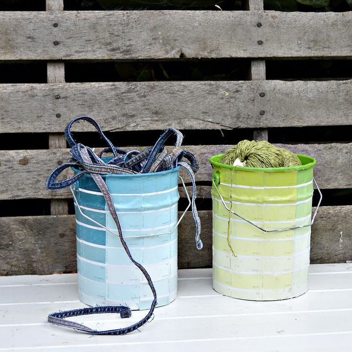 make free storage by upcycling your empty paint cans with paint chips, craft rooms, crafts, fireplaces mantels, repurposing upcycling, storage ideas