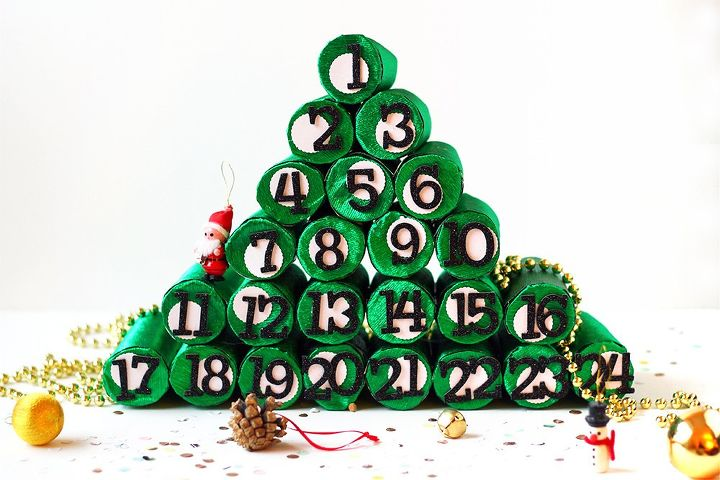 diy advent christmas tree using paper rolls, christmas decorations, crafts, how to, repurposing upcycling