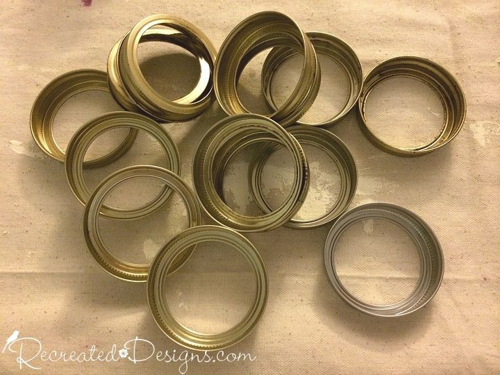 making mason jar ring painted pumpkins, chalk paint, crafts, halloween decorations, home decor, mason jars