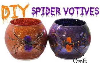 diy dollar store halloween glitter spider votives craft project, crafts, halloween decorations, pest control, seasonal holiday decor