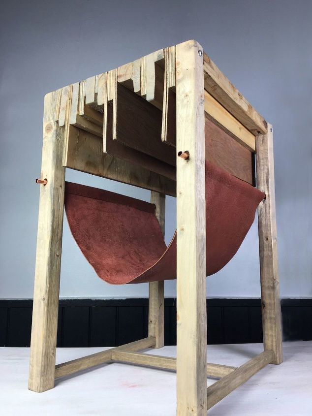 scrap wood table with leather sling, repurposing upcycling, woodworking projects