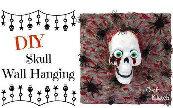 diy dollar store skull wall hanging craft klatch halloween series, crafts, halloween decorations, seasonal holiday decor