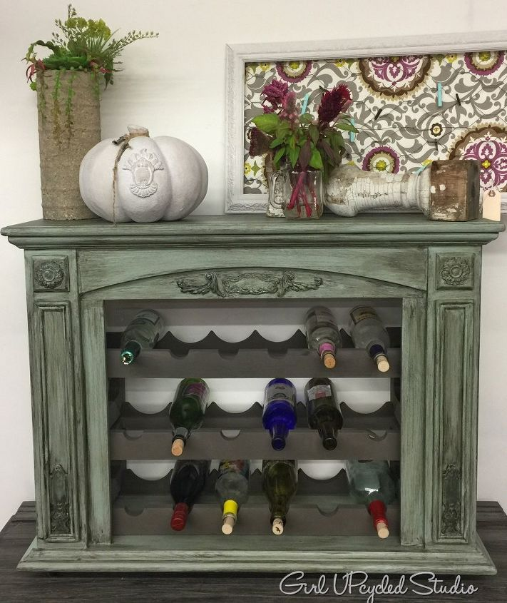 Furniture Upcycle Fireplace Is Upcycled Into An Aged Wine