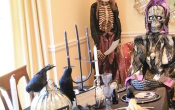 a very scary halloween table , halloween decorations, painted furniture, seasonal holiday decor