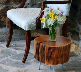 How To Make A Tree Stump Side Table With Diy Legs, How To, ...