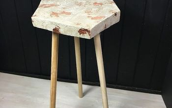 Copper Leaf Cement Side Table