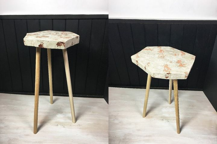 copper leaf cement side table, concrete masonry, home decor, painted furniture