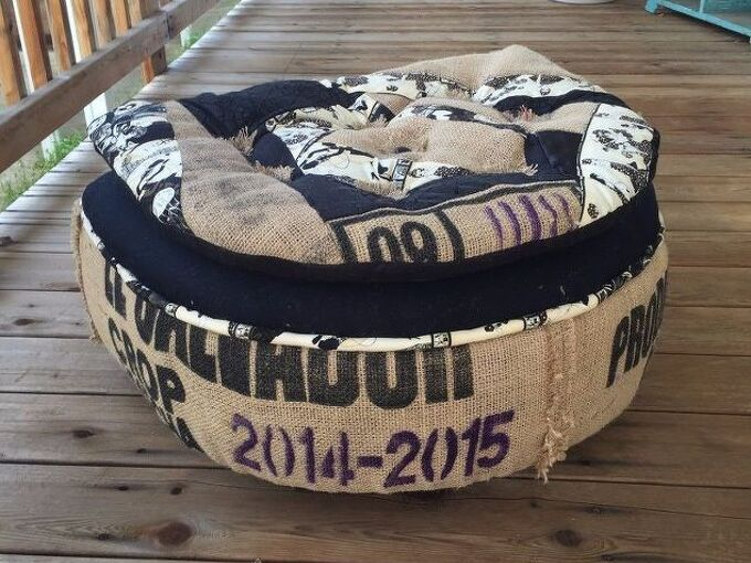 burlap ottoman footstool, crafts, painted furniture, Finished