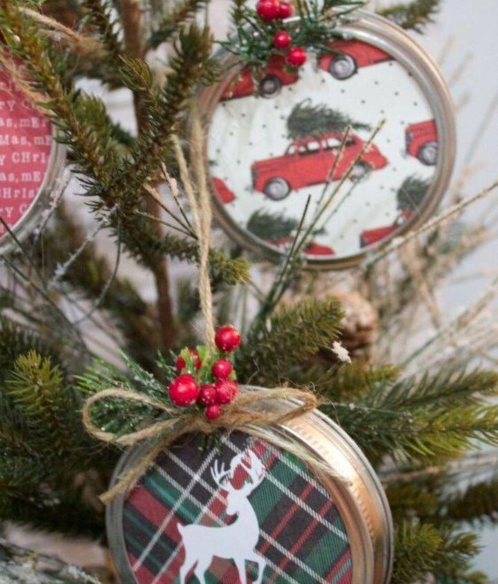diy mason jar lid christmas ornaments, christmas decorations, crafts, mason jars, seasonal holiday decor