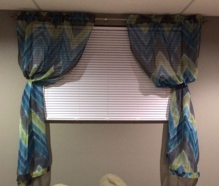 q basement window , basement ideas, window treatments, windows, I actually like the print of the curtain but hate them hanging like this