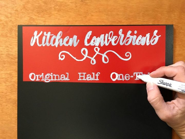 cabinet kitchen conversion chalkboard chart, chalkboard paint, crafts, kitchen cabinets, kitchen design