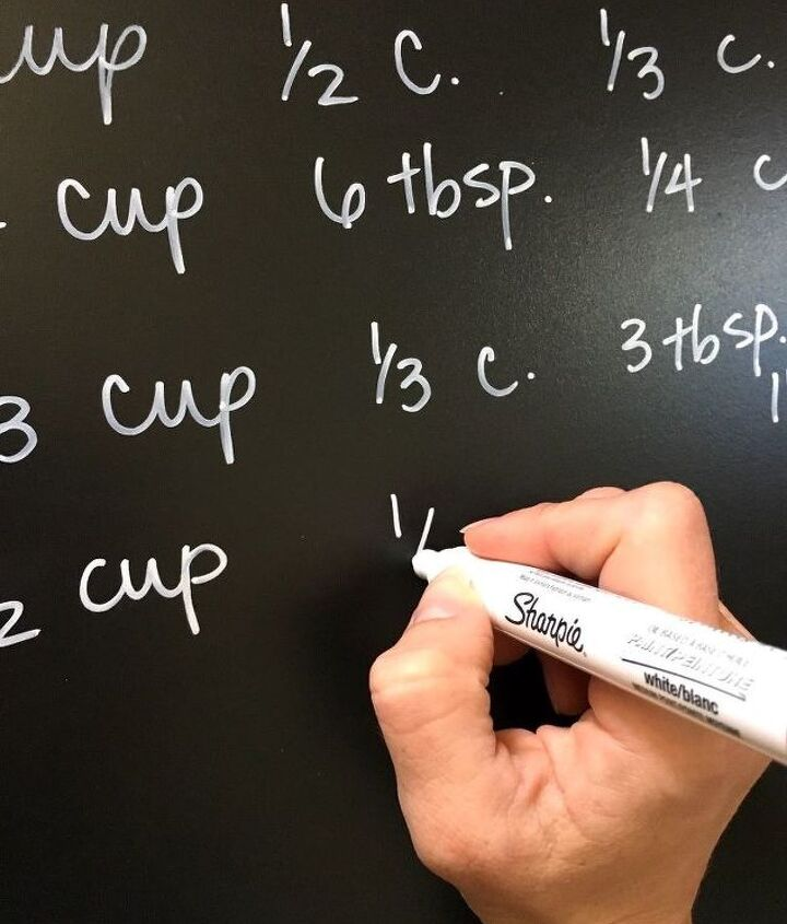 cabinet kitchen conversion chalkboard chart, chalkboard paint, crafts, kitchen cabinets, kitchen design