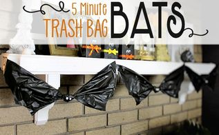 5 minute trash bag bats, fireplaces mantels, halloween decorations, seasonal holiday decor
