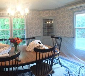 Modern Colonial Dining Room, Dining Room Ideas, Painting, Prepping For  Wallpaper Steaming