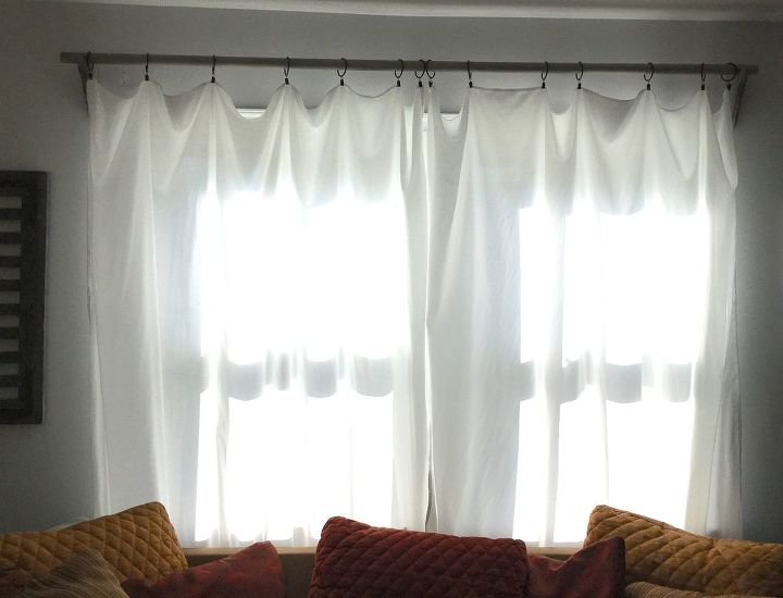 Rustic Curtain Rod Amp Corbels With Sheet Curtains Hometalk