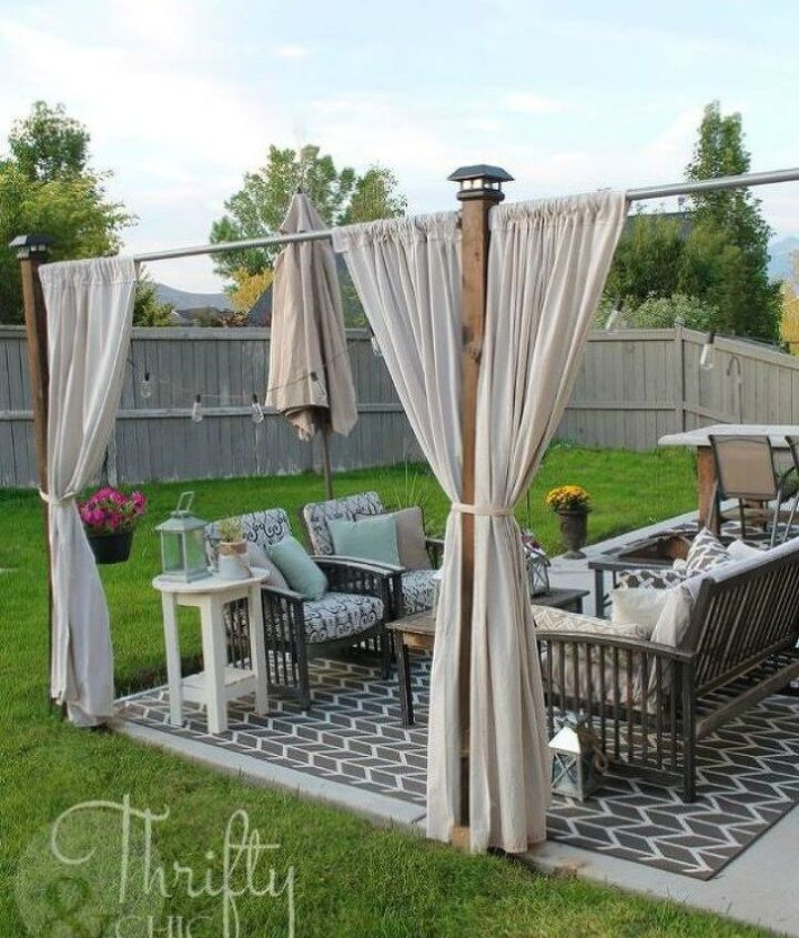 s 10 ways you never thought of using a curtain rod in your home, home decor, window treatments, Create some outdoor privacy