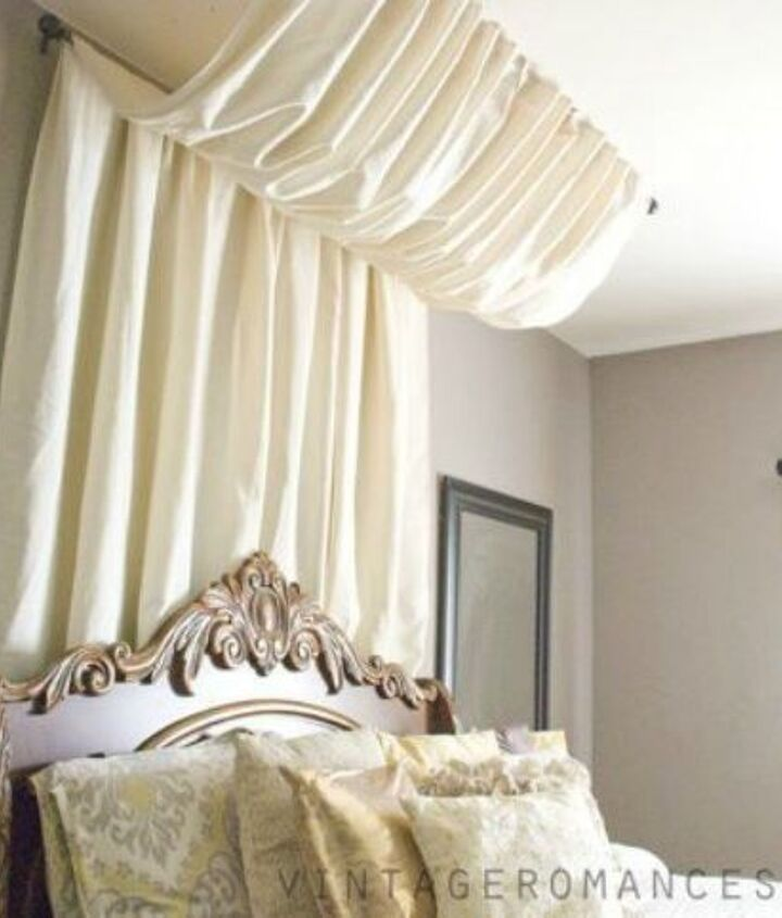s 10 ways you never thought of using a curtain rod in your home, home decor, window treatments, Use two to create a stunning bed canopy