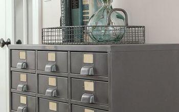 restored vintage metal hardware cabinet, kitchen cabinets, kitchen design