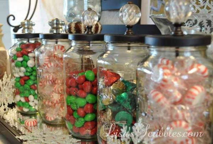 s don t throw out that glass jar before you see these christmas ideas, christmas decorations, Add crystal knobs for adorable candy jars