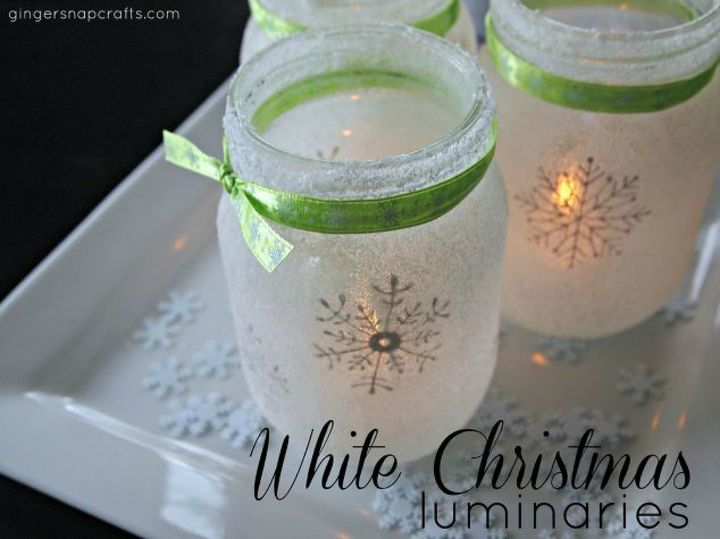 s don t throw out that glass jar before you see these christmas ideas, christmas decorations, Use mod podge and salt to make luminaries