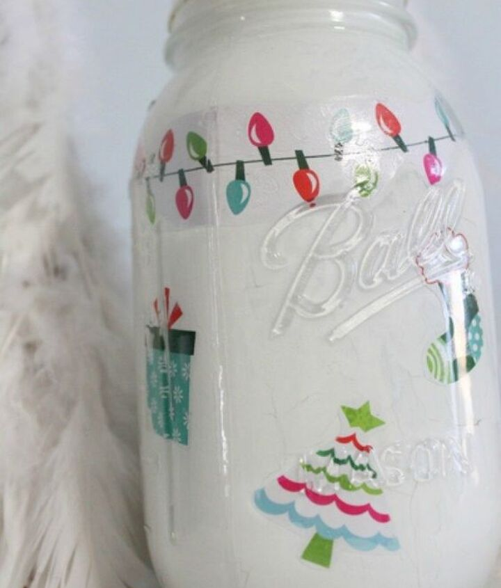 s don t throw out that glass jar before you see these christmas ideas, christmas decorations, Use stickers and shapes for a Christmas theme
