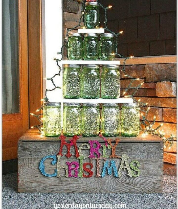 s don t throw out that glass jar before you see these christmas ideas, christmas decorations, Turn your green jars into a Christmas tree