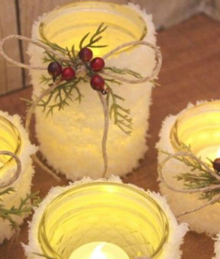 s don t throw out that glass jar before you see these christmas ideas, christmas decorations, Wrap fluffy yarn into frosted candles