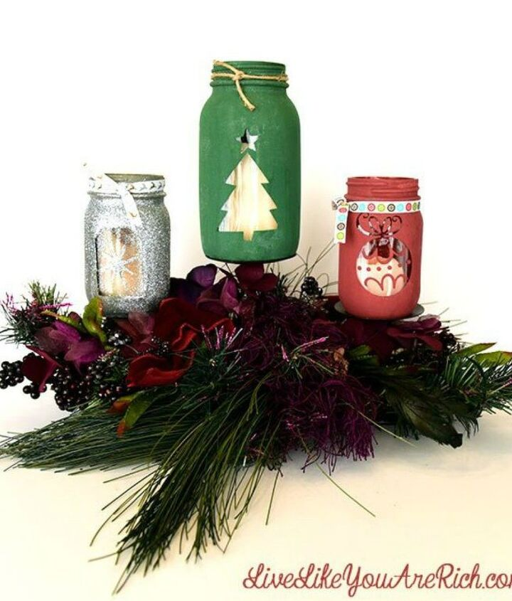 s don t throw out that glass jar before you see these christmas ideas, christmas decorations, Paint them into candle holders