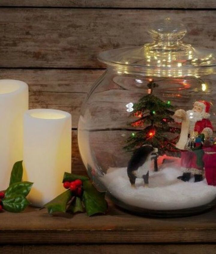 s don t throw out that glass jar before you see these christmas ideas, christmas decorations, Add some miniatures for a festive scene