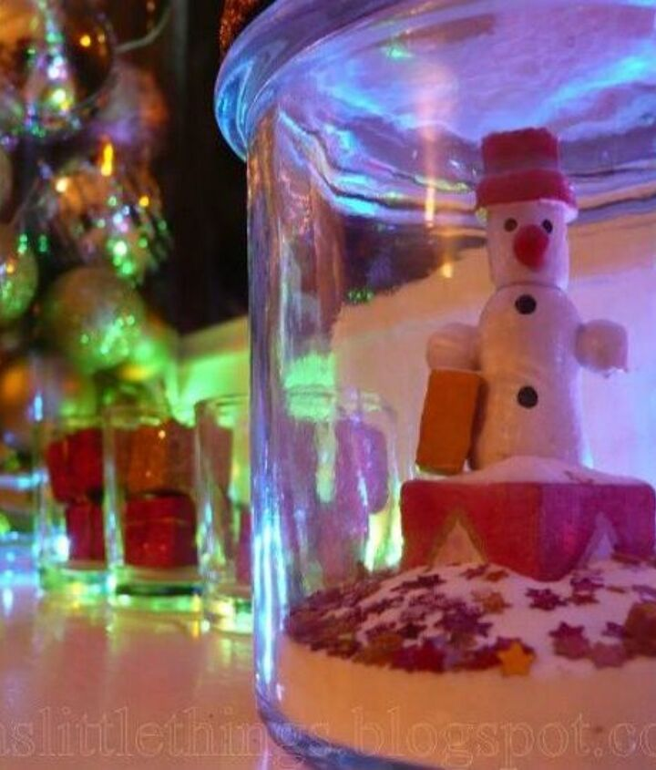 s don t throw out that glass jar before you see these christmas ideas, christmas decorations, And use sand and epson salt for fake snow