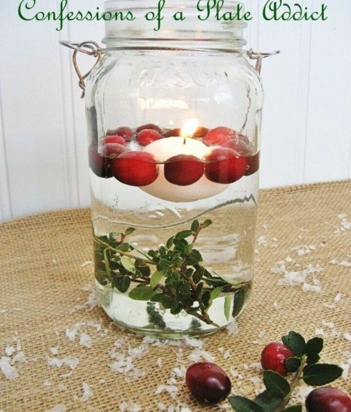 s don t throw out that glass jar before you see these christmas ideas, christmas decorations, Make floating candles with cranberries