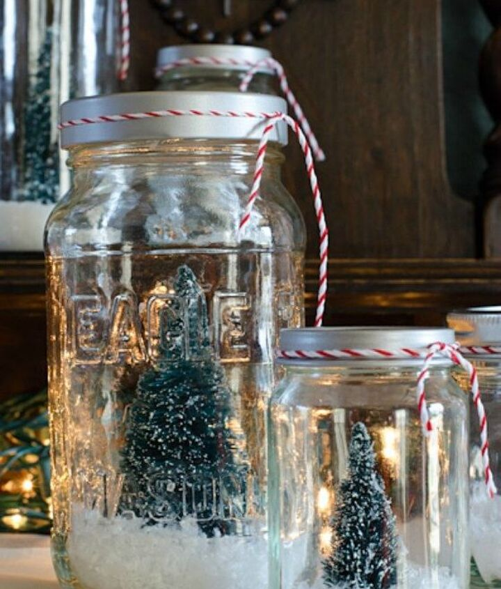 s don t throw out that glass jar before you see these christmas ideas, christmas decorations, Create mini snowglobes with tiny trees