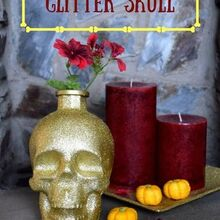 diy glitter skull decor for halloween, halloween decorations, home decor, seasonal holiday decor