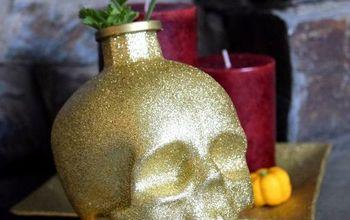 DIY Glitter Skull Decor for Halloween