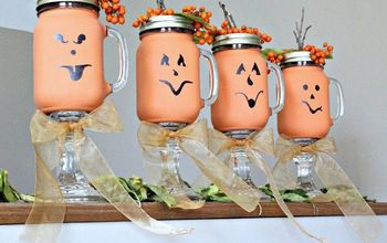Mason Jar Pumpkin Candle Holders