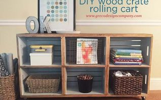 wood crate rolling cart, painting wood furniture, repurposing upcycling