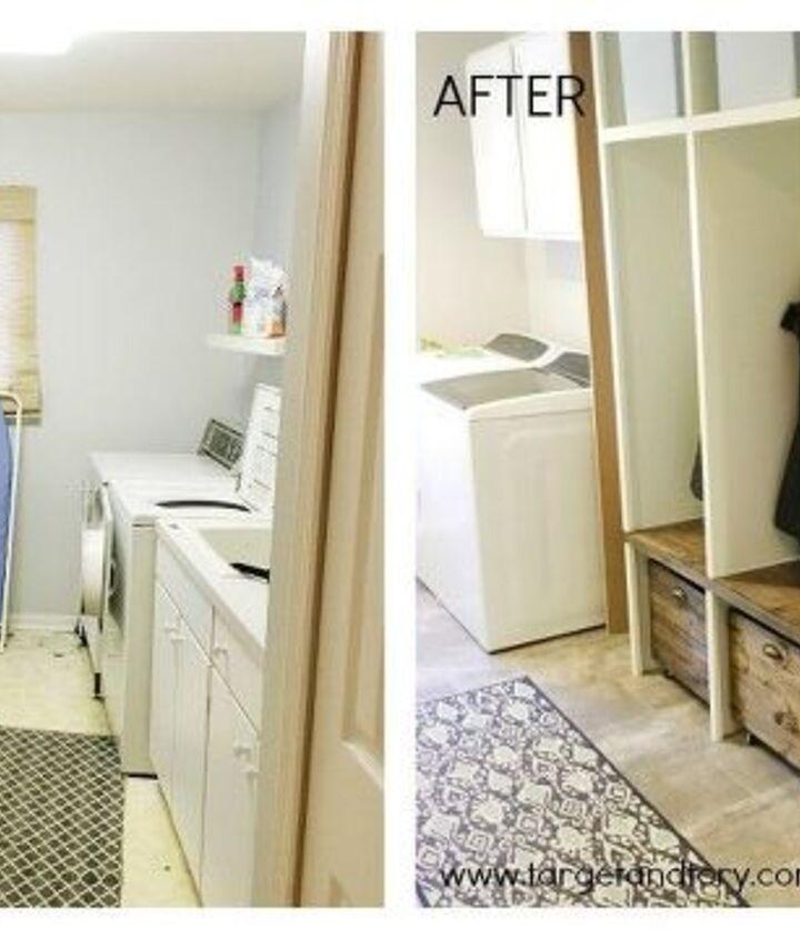 diy laundry mudroom makeover, foyer