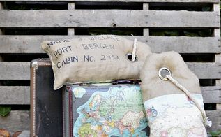 unique luggage tag map burlap pillows, crafts, home decor