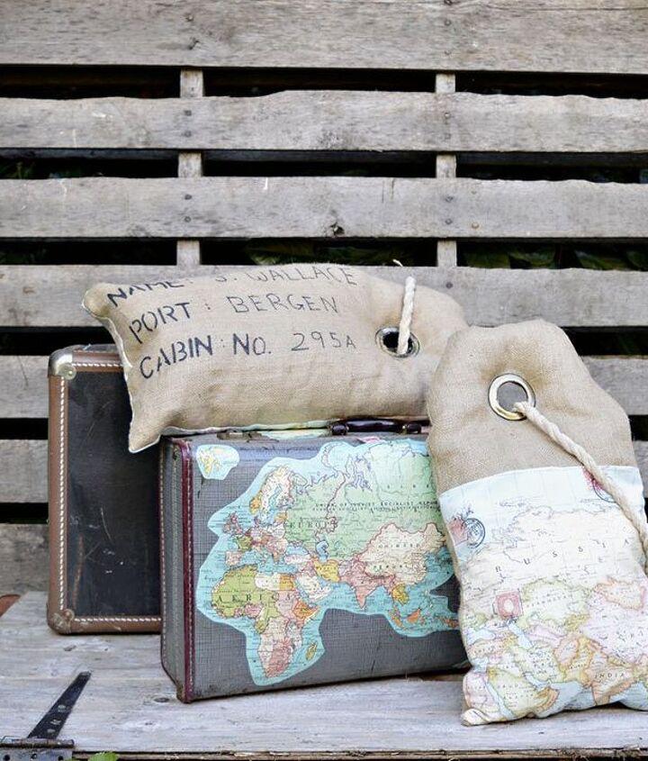 unique luggage tag map burlap pillows, crafts, home decor