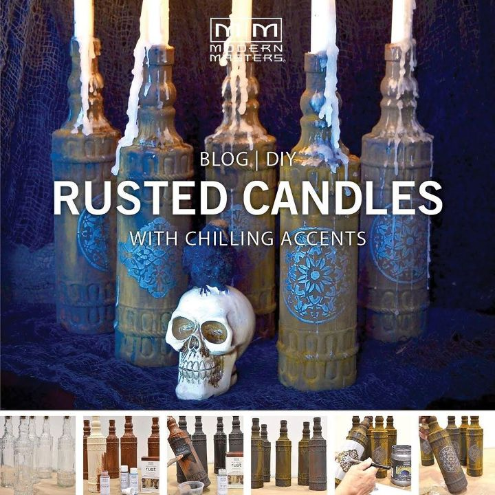 halloween diy rusted glass candles, halloween decorations, seasonal holiday decor