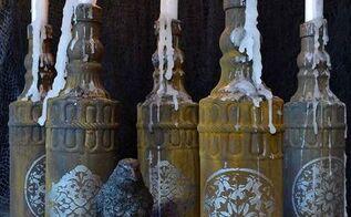 halloween diy rusted glass candles, halloween decorations, seasonal holiday decor