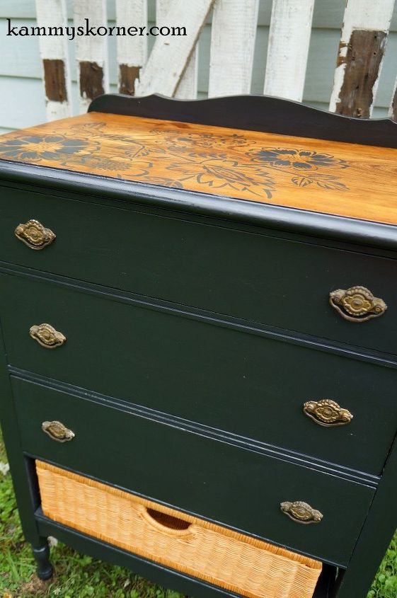 camouflaging damaged wood on dresser top, painted furniture