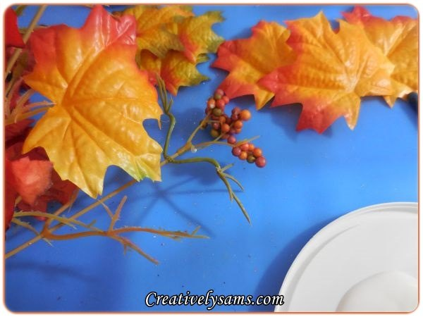 dollar tree fall candle vignette, crafts, repurposing upcycling