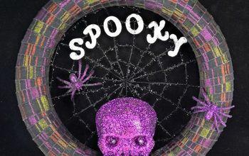 diy spooky halloween wreath eerily easy , crafts, halloween decorations, seasonal holiday decor, wreaths