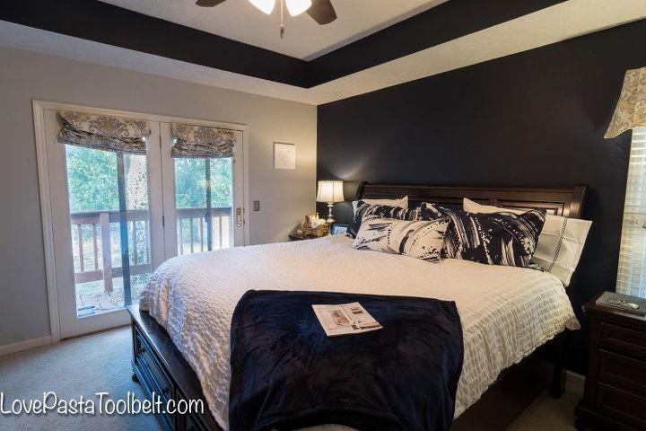 navy and gray master bedroom design, bedroom ideas, home decor