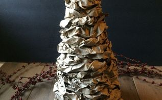 make a rustic christmas decor with recycled paper bags and a box , christmas decorations, home decor