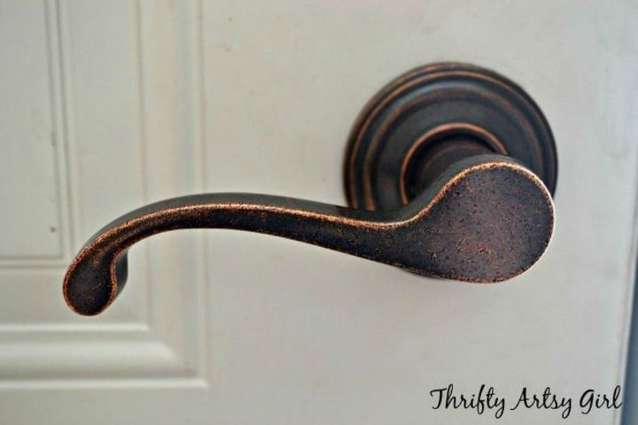 s 10 easy ways to fix your old door in under an hour, doors, Paint over your outdated brass knobs